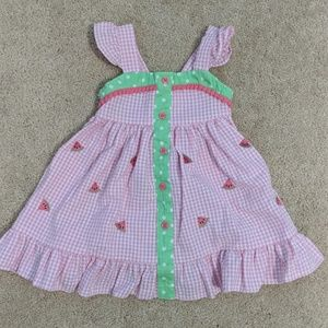 Watermelon dress with flutter sleeves size 18 mo